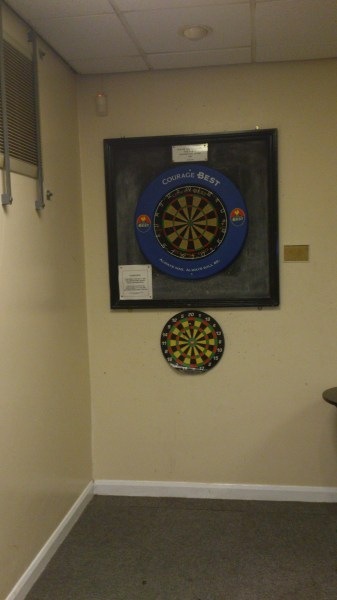 Dart board in Skittle Alley